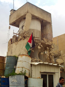 Shelled tower at Palestinian President�s compound, Ramallah